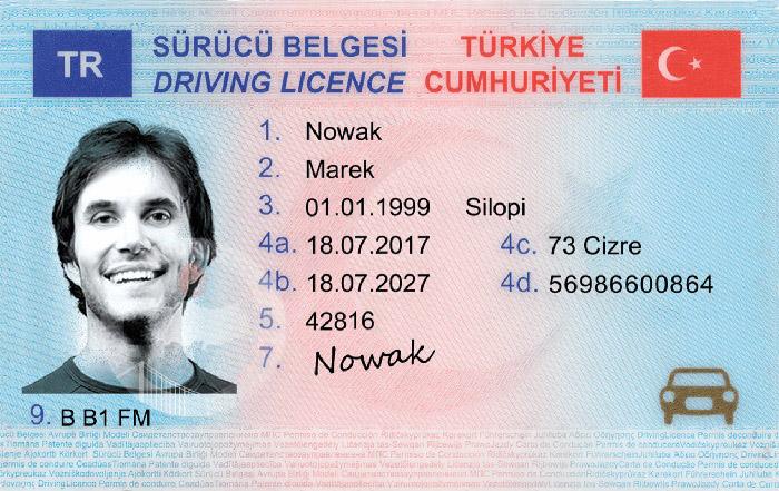 گواهینامه رانندگی در ترکیه